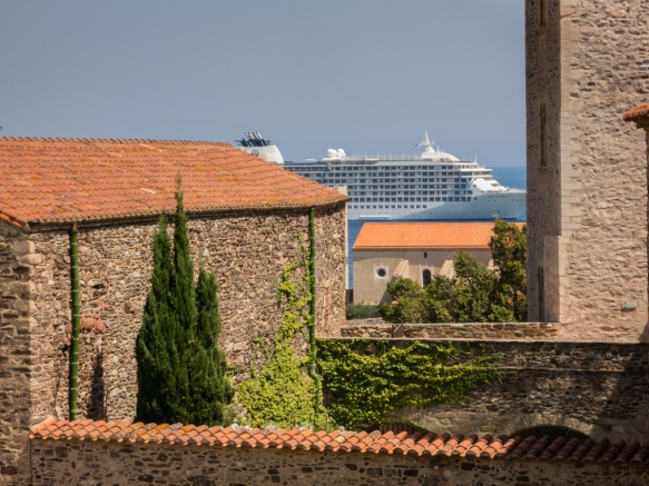 Our ship visible in the distance from the Chateau Royal de Collioure (Collioure Royal Castle), Collioure, France