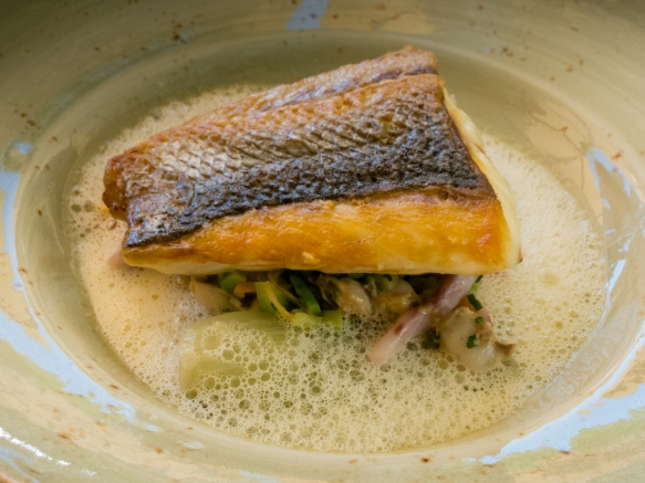 Pan sautéed fresh local sea bass with vegetables and broth at the Veranda at Grand-Hôtel du Cap-Ferrat, Cap-Ferrat, France