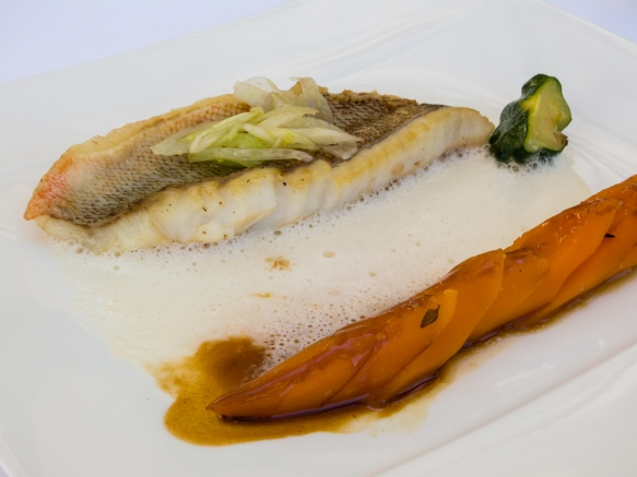 Rockfish fillet, steamed sand-grown carrots, verbena and wild fennel sauce, Le Mas Candille, Mougins, France