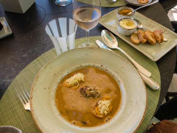 Soup de Poisson with rouille, croutons and cheese at the Veranda at Grand-Hôtel du Cap-Ferrat, Cap-Ferrat, France
