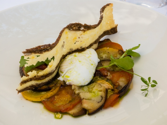 Summer vegetable Bayaldi, poached egg scented with basil oil, Le Mas Candille, Mougins, France