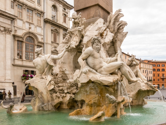 The central Bernini fountain at Piaza Navona, Roma, Italy
