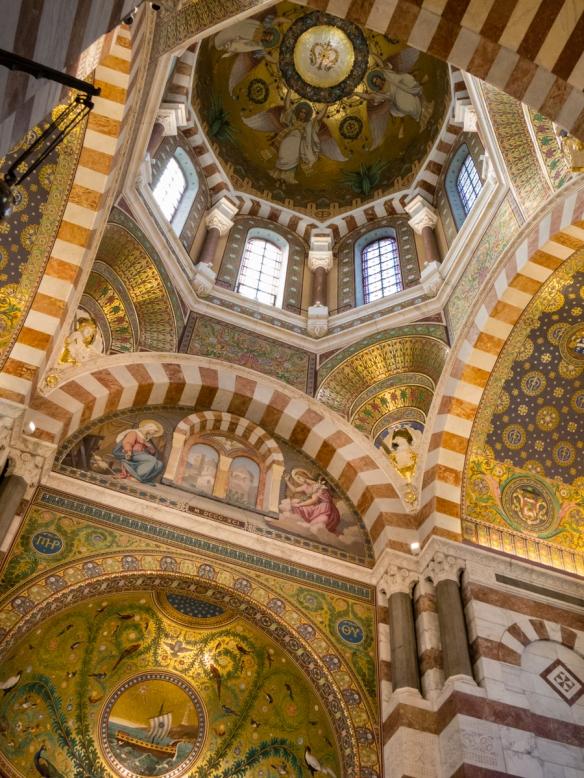 The central dome of Basilique Notre-Dame da la Garde (Our Lady of the Guard Basilica), Marseille, France