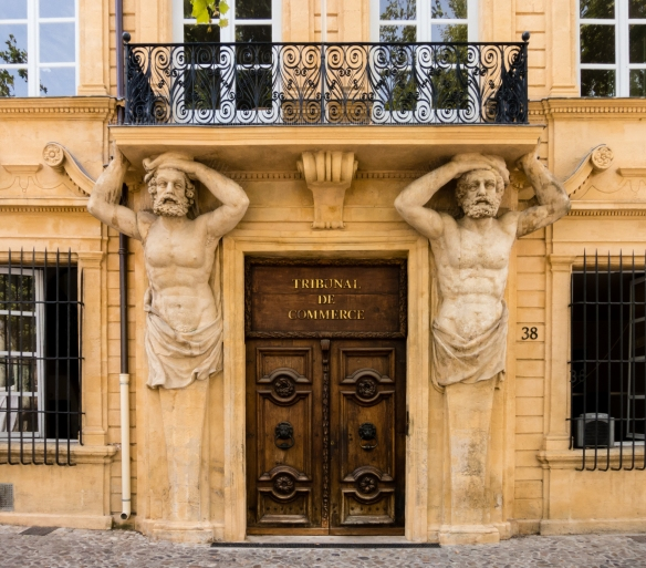 The city's oldest mansion, Maurel hotel Ponteves, also called Espagnet Hotel, (1648) in the center of Cours Mirabeau, is well known for the two muscular sculptures supporting the first floor balcony; Aix-en-Provence, France