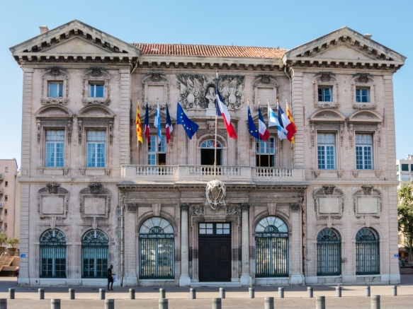 The classically designed Hotel de Ville (City Hall) is one of the few remaining 17th century buildings along the north side of Vieux Port, as the Germans blew up buildings along the quai before retreating from Marseille, France, during World War II