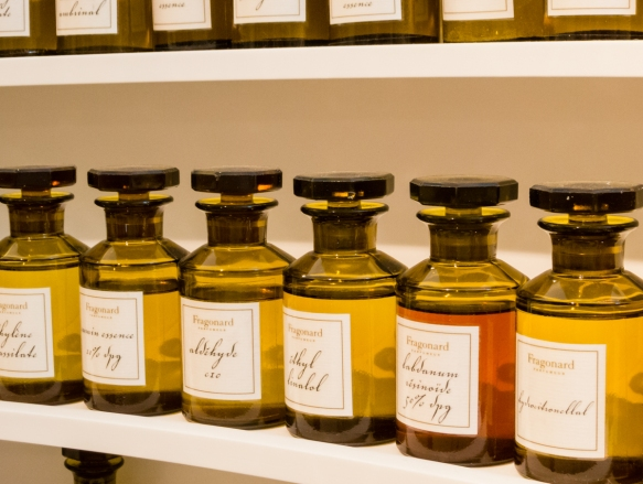 "The ""laboratory's"" display of a selection of the natural aromas available to the professional staff at Fragonard Parfumeur for blending Perfumes and Eaux de Colognes, Grasse, France"
