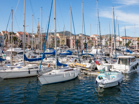 The harbor is chock full of sailboats at Sanary-sur-Mer, France