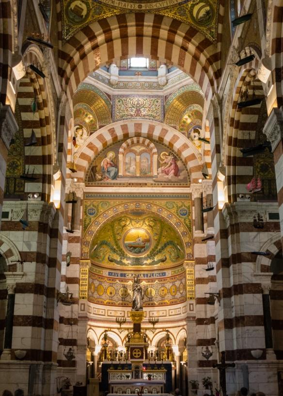 The main altar of Basilique Notre-Dame da la Garde (Our Lady of the Guard Basilica), Marseille, France