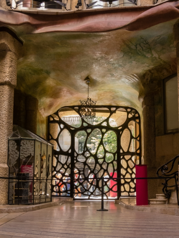The main automobile entry gate and foyer of Casa Milà (La Pedrera), Barcelona, Spain