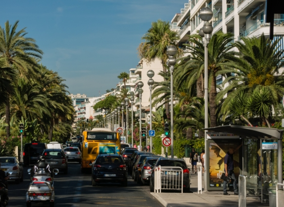 The main waterfront street, Promenade de Anglais, is lined with hotels, Nice, France