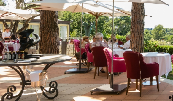 The patio of MICHELIN One-star restaurant Le Mas Candille, Mougins, France, where we enjoyed a delicious group luncheon after touring the town of Mougins
