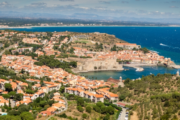 The top of the hill afforded an excellent view of the town of Collioure, France, with the coast and coastal mountains in the background