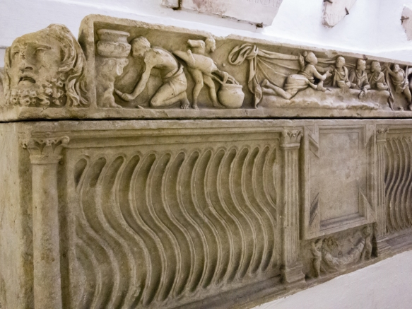 A Roman Empire sarcophagus in the underground house below Basilica Santa Cecilia, Roma, Italy