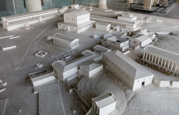 a-scale-model-of-archaeologists-conceptual-designs-for-the-ancient-agora-of-athens-as-it-probably-existed-around-the-2nd-century-b-c-in-the-museum-of-the-athenian-agora-in-the-reconstructed