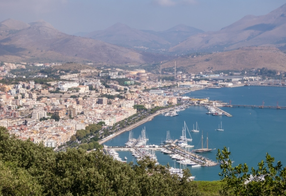 A view of Gaeta Harbor and New Gaeta from the top of Monte Orlando, Gaeta, Italy