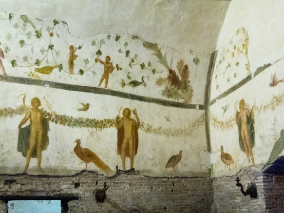 A well preserved fresco from a 4th century A.D. grand domus (the house of a rich Roman) that was buried under the Basilica of Santi Giovani e Paolo until excavations began in 1887; the site only opened to the public in 2002; Roma, Italy