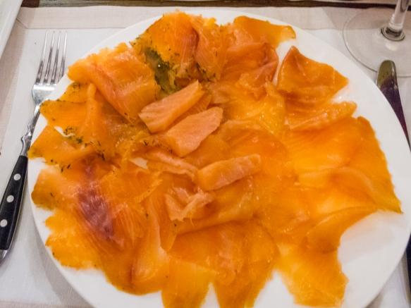 An appetizer of three kinds of smoked salmon, Salumeria Roscioli, Roma, Italy