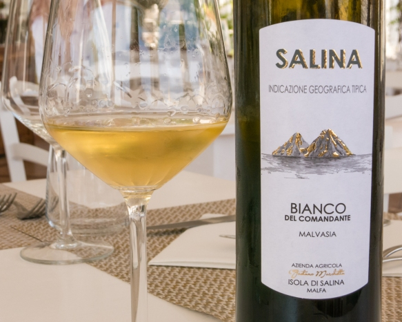 At La Vela restaurant in Santa Marina we enjoyed an excellent Malvasia wine – a specialty of the island (note the island's twin volcanic mountains depicted on the label) -- with our grilled fish for lunch, Isola di Salina, Italy