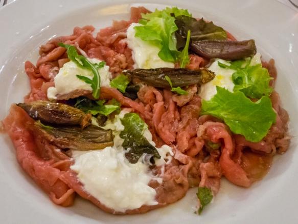 Beef carpaccio with fresh burrata, Salumeria Roscioli, Roma, Italy