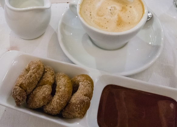 Cappuccino with home-made cookies that we dipped in warm chocolate (a Roman specialty), Salumeria Roscioli, Roma, Italy
