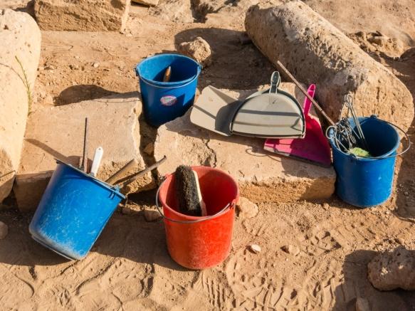 tools-of-the-trade-for-the-archaeologists-working-on-site-at-kato-pafos-archaeological-site-cyprus