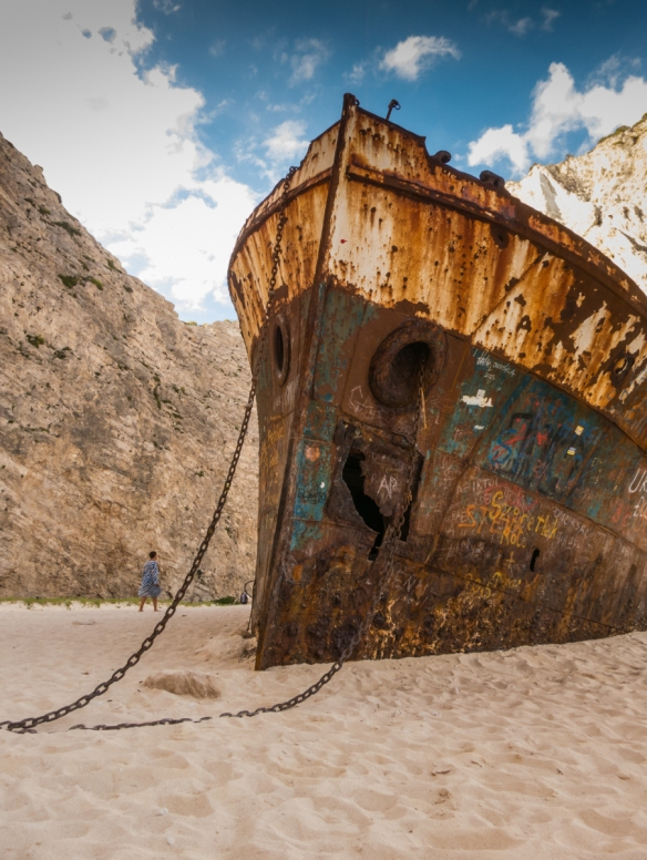 It was very strange to walk around the shipwrecked MV Panagiotis and see the anchor chains in sand, along with the bow and the rest of the ship, Navagio (Shipwreck) Beach, Zakynthos (Zante), Greece