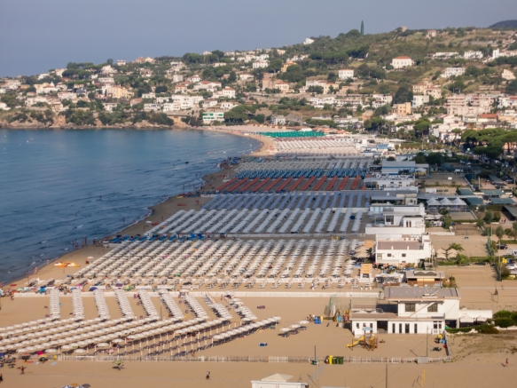 Located less than 1 mile (1.6 km) from the downtown area, Serapo is Gaeta's main beach; it won a Blue Flag designation in 2015 from the Foundation for Environmental Education that the beach meets stringent standards for safety