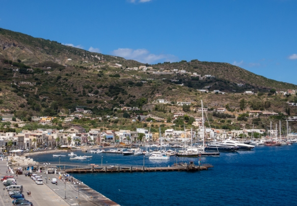 Marina Lunga in the harbor of the town of Lipari, Italy