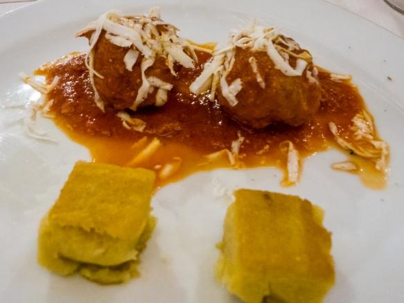 Meatballs and fried polenta, Salumeria Roscioli, Roma, Italy