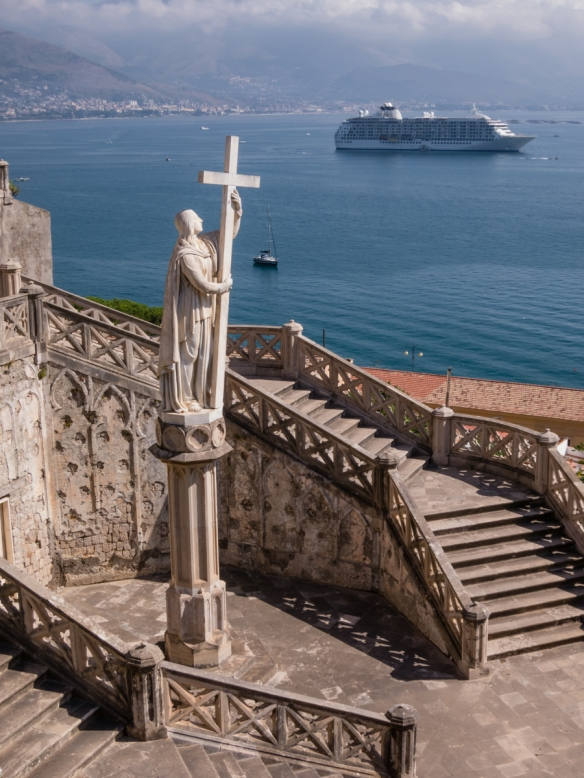 Our ship anchored in Gaeta Harbor with the plaza in front of Chiesa St. Francesco in the foreground, Gaeta, Italy