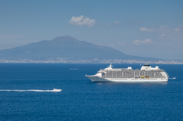 Our ship at anchor in the Bay of Naples with Mount Vesuvius in the background, Sorrento, Italy