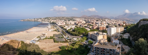 Panorama of New Gaeta with Serapo Beach on the left (west) & the Gaeta Harbor on the right (east), taken from a point mid-way up Monte Orlando (which separates New Gaeta on the west from the Medieval Quarter on the east, Italy