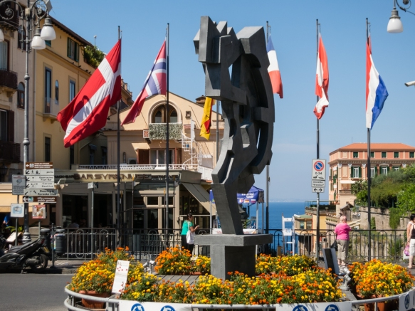 Piazza Tasso in the center of Sorrento, Italy's Historic Center (Centro Storico), overlooking the Bay of Naples and the harbor (to the north)
