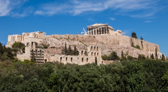 the-acropolis-in-athens-greece-has-been-described-by-unesco-as-the-most-striking-and-complete-ancient-greek-monumental-complex-still-existing-on-the-left-on-the-hilltop-are-the-en