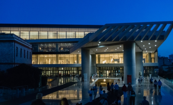 the-entry-to-the-new-acropolis-museum-athens-greece-designed-by-bernard-tschumi-with-michael-photiadis-of-new-york-paris-that-opened-in-2009-photographed-at-dusk