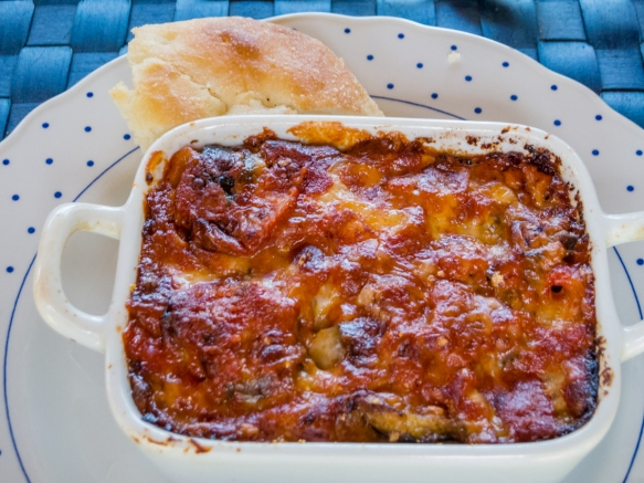 The finished baked pasta was scrumptious at Villa Ida, Sorrento, Italy