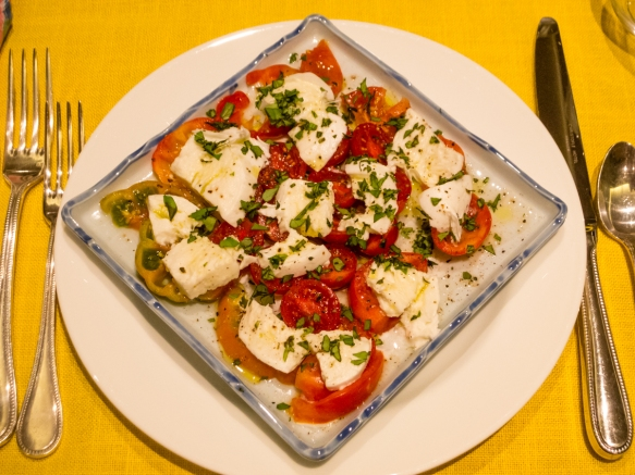The first course of our home cooked dinner was salad Caprese (fresh tomatoes with a creamy, local mozzarella that was similar to burrata in its creaminess, Gaeta, Italy