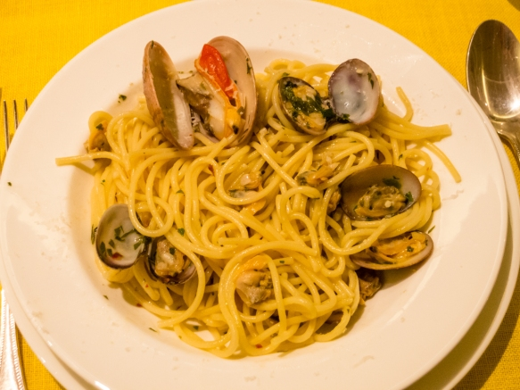 The main course of our home cooked dinner was linguine with Franco's fresh clams in wine and garlic sauce, Gaeta, Italy