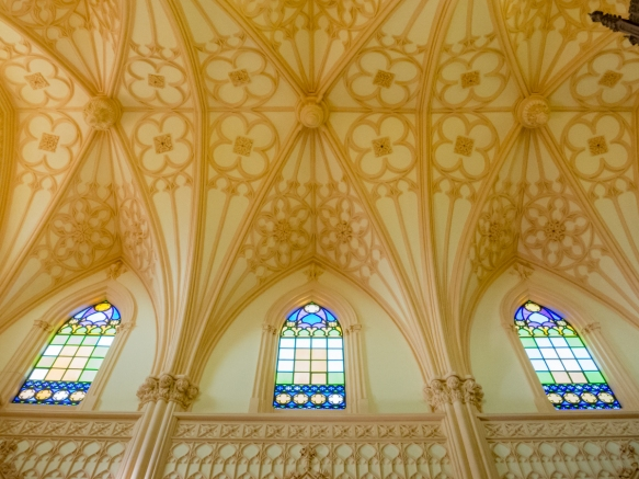 The ribbed ceiling and windows of Chiesa St. Francesco, Gaeta, Italy