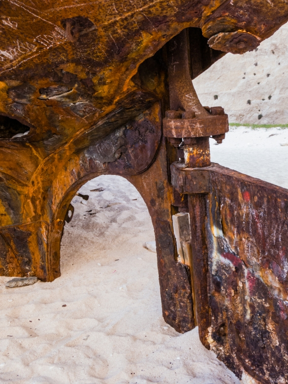 The rudder of MV Panagiotis buried in the sand looks like a geometric abstract design, Navagio (Shipwreck) Beach, Zakynthos (Zante), Greece