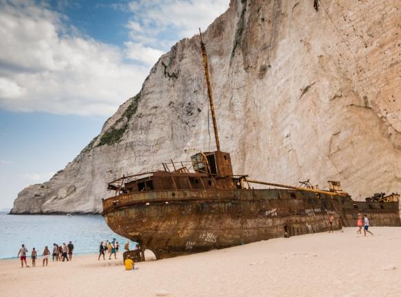 The shipwrecked MV Panagiotis buried in the sand, viewed from the beach, Navagio (Shipwreck) Beach, Zakynthos (Zante), Greece