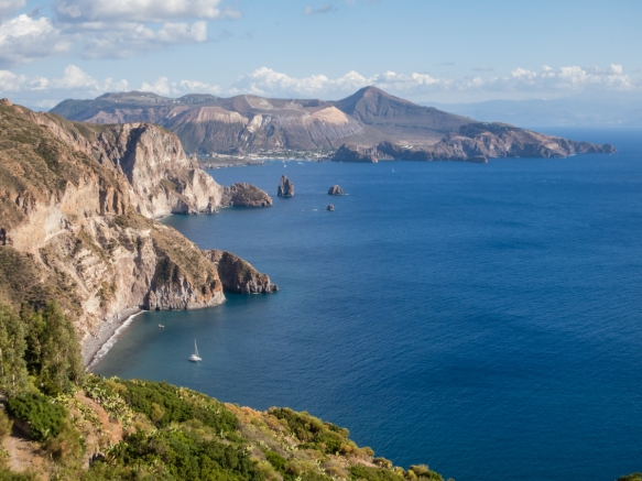 The undeveloped coastline of Lipari Island, Italy