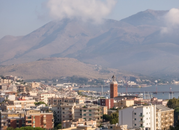 The view of New Gaeta looking out towards Gaeta Harbor is punctuated by the tower of city hall, Gaeta, Italy