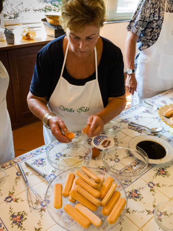 We each made a small tiramisu after watching Ida's daughter (our instructor who was assisted by her daughter who also translated) demonstrate the way to combine the ingredients, Villa Ida, Sorrento, Italy