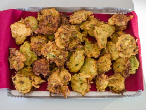Zucchini fritters served as part of the hors d'oeuvres with our wine tasting at Tenuta di Castellaro winery, Lipari, Italy