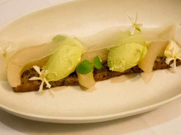 a-dessert-course-of-pistachio-gelato-with-fresh-pear-the-long-thin-slice-above-the-gelato-and-the-wedges-between-the-scoops-of-gelato-cape-lodge-restaurant-wilyabrup-margaret-river-region-wes