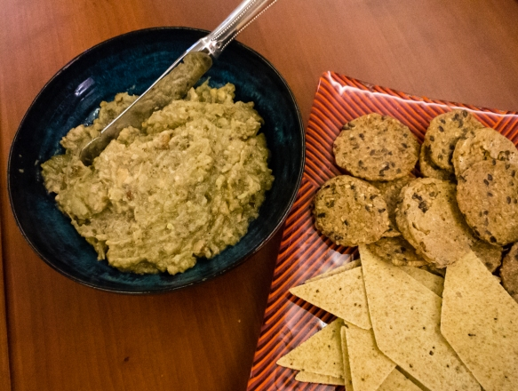 julia-childs-eggplant-and-walnut-dip-with-crackers-served-for-a-dinner-party-in-our-apartment-on-the-ship-perth-australia