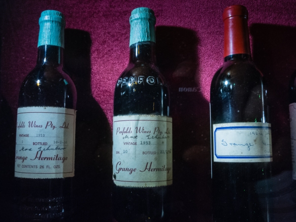 the-underground-cellar-at-penfolds-magill-estate-adelaide-australia-houses-the-estates-collection-of-early-grange-bottles-shown-here-are-two-of-the-third-vintage-produced-1953-a