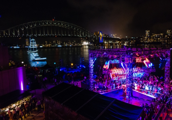 the-view-from-the-joan-sutherland-theaters-terrace-before-the-9-00-p-m-fireworks-was-fairly-tranquil-sydney-opera-house-sydney-new-south-wales-australia-the-sydney-harbour-bridge-is-at