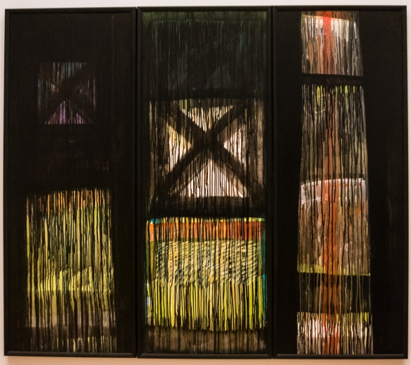 kura-te-waru-rewiri-born-1950-te-tohu-tuatahi-1991-acrylic-on-board-draws-a-powerful-continuum-between-the-past-and-present-at-the-paintings-center-is-a-cross-motif